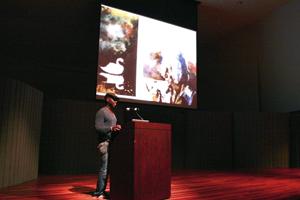 Photo of Leonardo Drew presenting at the September 29 lecture by Vanessa Robertson.