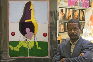 Alvin Staley with artwork