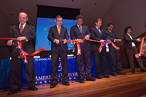 SIS dean Louis Goodman, U.S. ambassador to ASEAN Scot Marciel, ASEAN secretary-general Surin Pitsuwan, AU president Neil Kerwin,  and SIS professors Amitav Acharya and Pek Koon Heng-Blackburn open the ASEAN Study Center. (Photo: Jeff Watts)