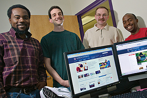 PHOTO: Web developers, from left: Marico Hawes, Michael Mendelson, Sergey Korsakov, and Kabo Botlhole