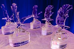 Crystal Eagle awards on display