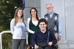 From left, Liz Calka, Sonia Tabriz, Chris Miller, and Professor Robert Johnson