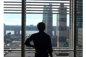 Photo: Bobby Allyn at the New York Times building, where he worked this summer as an intern.