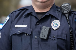 Closeup of police officer's uniform