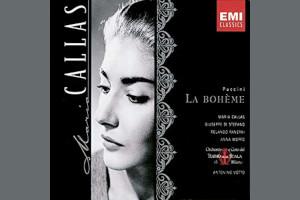 Cover of La Boheme opera CD featuring Maria Callas's face.
