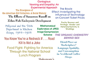 Photo-illustration of topics from the Robyn Rafferty Mathias Student Research Conference