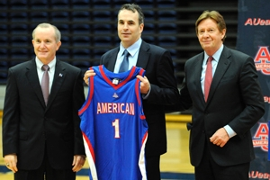 (Left to right) Athletics Director Billy Walker, Head Basketball Coach Mike Brennan, and American University President Neil Kerwin.