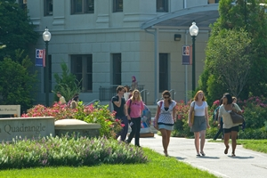 Students walking in American University campus