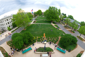 Overhead view of American University Quad