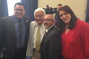 (From far right) Professor and filmmaker Carolyn Brown with Damian Trujillo and  Congressman Mike Honda at Capitol Hill screening of her film,