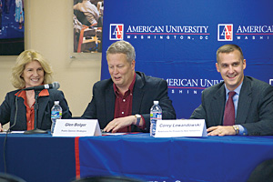 Photo: SPA professor Candice Nelson, Glen Bolger, middle, and Corey Lewandowski