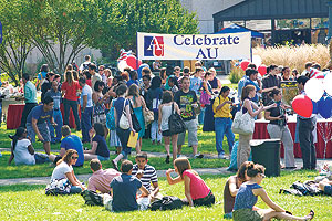 Students, staff and faculty members thronged the quad for the annual Celebrate AU event, enjoying the sunshine and piling their plates high with food, from sopapillas to sauerkraut to beef or vegetarian hot dogs.