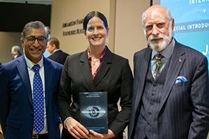(L-R) Anupam Chander, Laura DeNardis, Vinton Cerf at Internet in Everything book talk