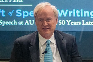 Chris Matthews, host of NBC's Hardball, was part of the speechwriting panel that kicked-off AU's 50th anniversary celebration of JFK's speech on nuclear proliferation.