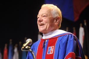 Seven-time Emmy winner Bob Schieffer addressed the 2011 School of Communication commencement ceremony on May 7.