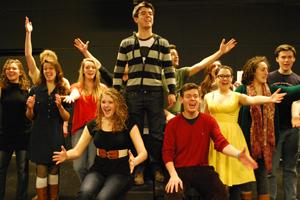 Students rehearse a musical number from the upcoming musical