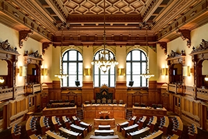 Assembly room inside City Hall in Hamburg, Germany.