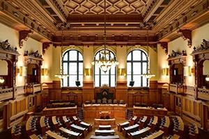 Assembly room inside City Hall in Hamburg, Germany.