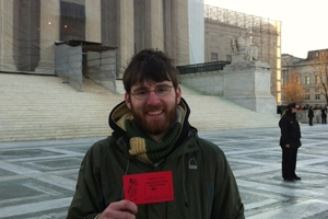 Law student Jay Shannon stands in front of the Supreme Court building in Washington, D.C.