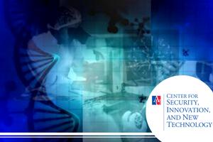 Blended translucent images of dna strands, molecules and technology