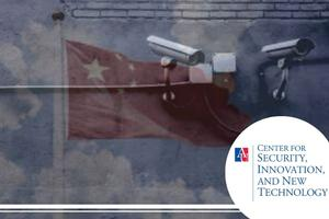 Image of surveillance cameras with a transparent image of a Chinese flag overlay.