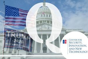 Image of the Capitol building with a translucent image of an American flag over a trump flag and a translucent Q in the middle.