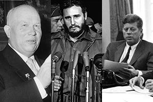 Nikita Khrushchev, Fidel Castro, and John F. Kennedy.