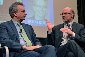 SOC Dean Jeff Rutenbeck (right) and SIS Dean James Goldgeier (left) at the Deans Screening of Dr. Strangelove