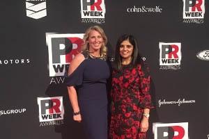 School of Communication professors Pallavi Kumar and Dina Martinez representing at PR Week Awards