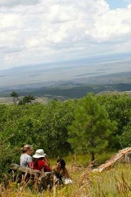 Three people sitting on a mountain looking down.