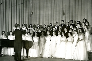 Formal choral performance.
