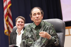 Albie Sachs with arts management professor Anne L'Ecuyer.