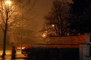 Save for a city light, AU was dark along Massachusetts Avenue, Mar. 28, in honor of Earth Hour. (Photo: Anne Doyle)