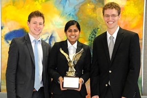 Pictured from left to right: Zachary Smith, Ayesha Cooray, Peter Blankenship
