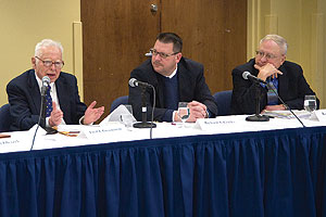 Photo: Fred Greenstein, left, Richard Conley, center, and Roger Davidson were on the first panel of the second-annual Eisenhower Symposium.