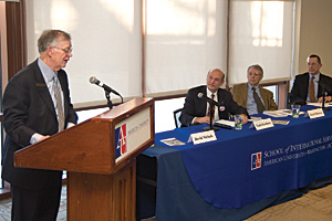 Phpoto: Author David Nichols speaks at the third-annual Eisenhower Symposium.