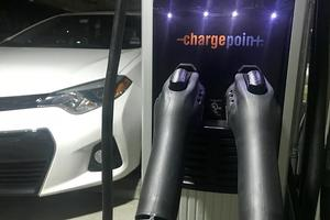 An electric vehicle charging station on campus