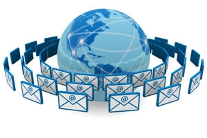Email rotating around globe