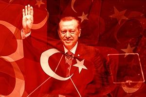 Turkish President Recep Tayyip Erdogan and Turkish flag.
