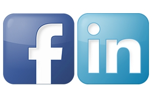 Facebook icon, left, and LinkedIn icon, right.