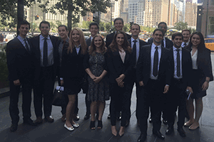 The group of students from Kogod's Financial Management Association who traveled to New York City.