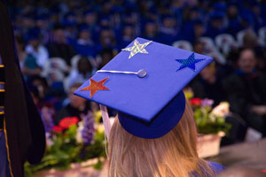 Graduation Cap Red White Blue Stars