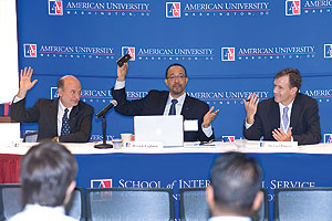 SIS Dean Louis Goodman, SIS professor Derrick Cogburn, and Stewart Patrick of the Council on Foreign Relation were among the panelists at the Sept. 24-25 conference. (Photo: Jeff Watts)