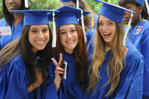 Students celebrating Commencement.