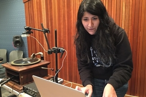 Jessie Rios works on her digital musical invention, the GramFX.