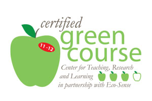 illustration of an apple with text: certified green course, Center for Teaching, Research, and Learning in partnership with Eco-Sense