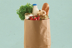 brown bag with groceries