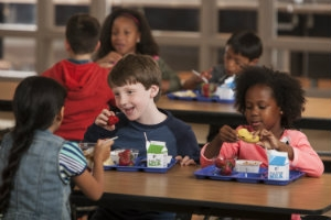 School children eat healthy tray lunches.