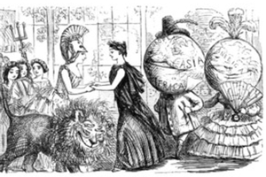 Historic cartoon of people with globes for heads clasping hands