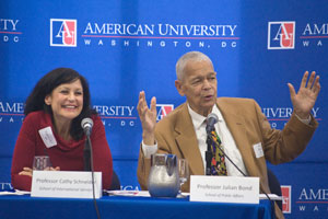Professors Cathy Schneider and Julian Bond at Oct. 5 Honors Panel at American University.